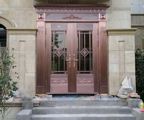 【青岛】保利海上罗兰玻璃别墅铜门定制加工案例