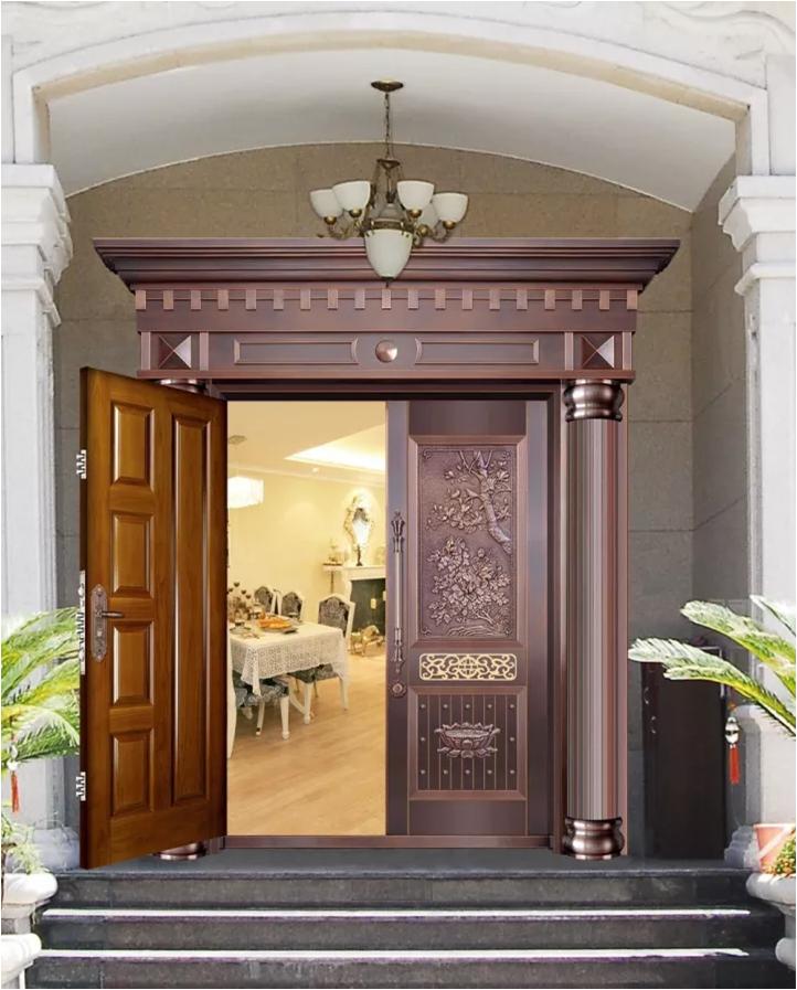 别墅铜门图片 【铜门对开门图片】大全 整版玻璃铜门