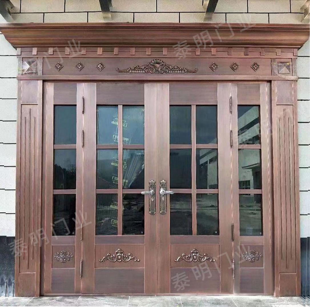 大厅酒店玻璃铜门仿铜门定制厂家