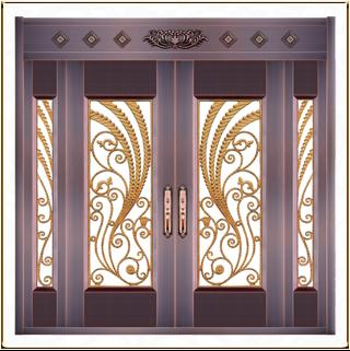 铸铝门花玻璃铜门 TM-6044