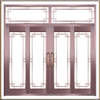 酒店中式玻璃铜门 TM-6045