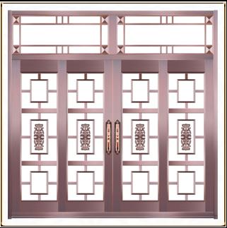 酒店古典玻璃铜门 TM-6046