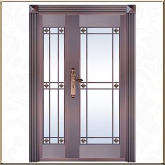 玻璃贴膜铜门 TM-6051