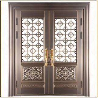 酒店中式玻璃铜门 TM-6072
